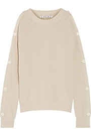 Helmut Lang Cutout button-detailed cotton and cashmere-blend sweater