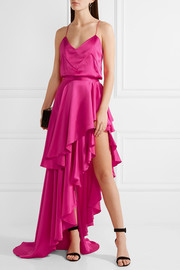Asymmetric ruffled silk-satin maxi skirt