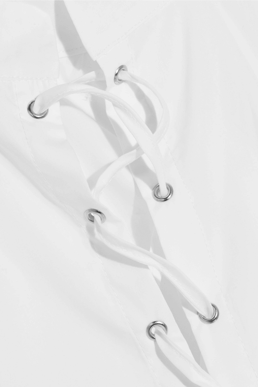 Michael Lo Sordo Priestess lace-up cotton-poplin peplum top