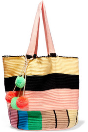 Jonas pompom-embellished woven tote