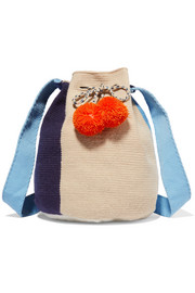 Sophie Anderson Lilla pompom-embellished crocheted shoulder bag