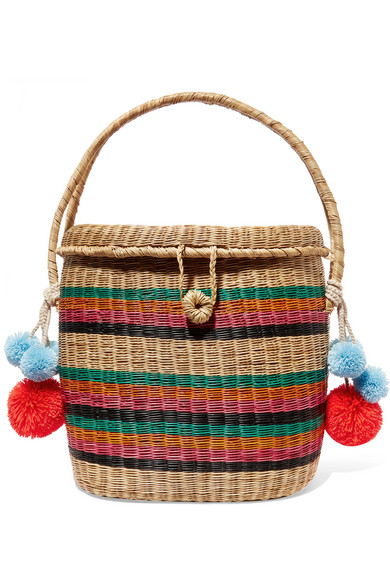 Sophie Anderson - Cinto Pompom-embellished Woven Raffia Tote - Neutral