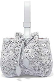 Alaïa Laser-cut appliquéd leather wristlet bag