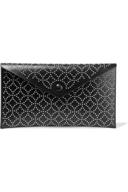 Envelope embellished leather clutch