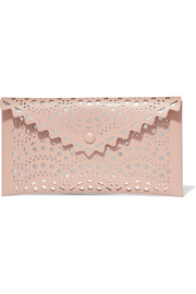 Laser-cut leather pouch