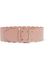 Arabesque studded leather waist belt