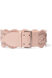 Vienne appliquéd laser-cut leather waist belt