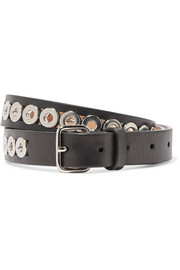 Eyelet-embellished leather waist belt