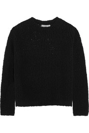 Textured stretch merino wool-blend sweater