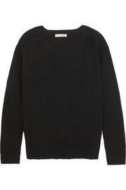 Vince Tie-back ribbed cotton and cashmere-blend sweater