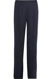 Pleated washed-satin wide-leg pants