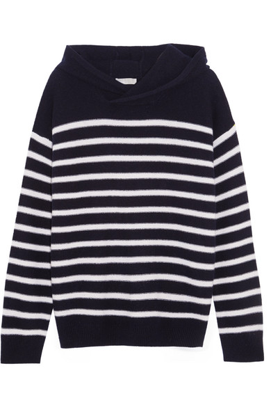 Vince - Hooded Striped Cashmere Sweater - Midnight blue