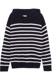 Vince Hooded striped cashmere sweater