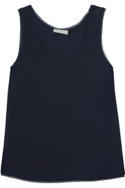 Frayed chiffon-trimmed stretch-satin tank