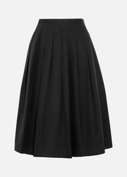 Vince Pleated cotton-poplin skirt