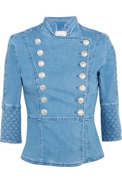 new arrival premium selection aliexpress Quilted double-breasted denim jacket