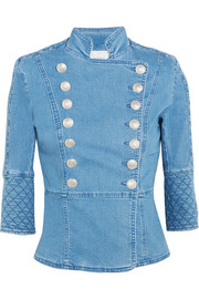 Quilted double-breasted denim jacket