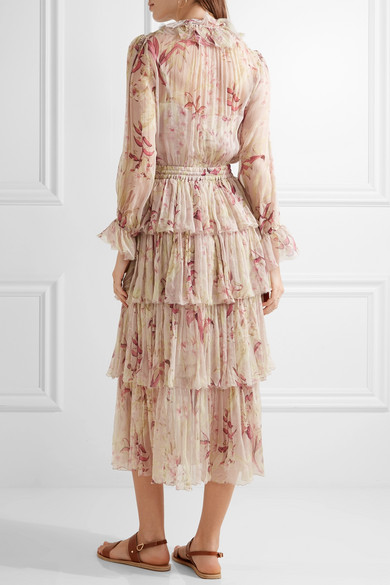 Zimmermann | Winsome tiered crinkled silk-chiffon dress | NET-A ...