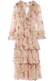 Winsome tiered crinkled silk-chiffon dress