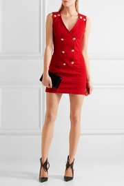 Double-breasted quilted corduroy mini dress