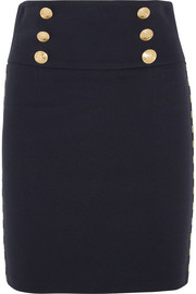 Chain-embellished cotton-blend twill mini skirt