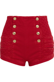 Button-detailed quilted denim shorts