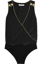 Wrap-effect washed-silk bodysuit
