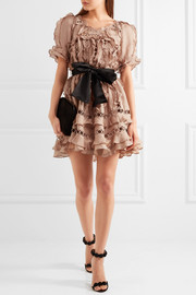 Zimmermann Winsome guipure lace-paneled ruffled silk and linen-blend mini dress