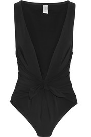Winsome plunge-front swimsuit