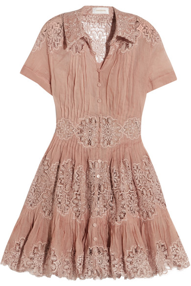 zimmermann female zimmermann winsome cottongauze and lace mini dress antique rose