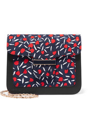 Camelia printed canvas and leather shoulder bag