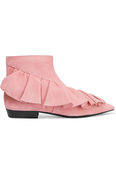 J.W.Anderson - Ruffled Suede Ankle Boots - Baby pink