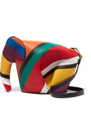 Elephant striped leather shoulder bag