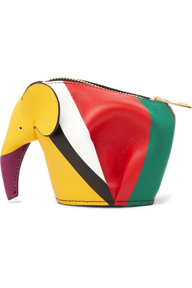 loewe female loewe elephant striped leather coin purse red