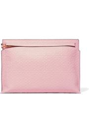 T embossed leather clutch