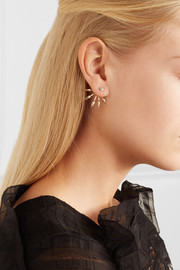 Pamela Love 5 Spike gold diamond earrings