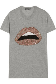 Markus Lupfer Kate embellished cotton-blend jersey T-shirt