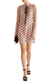 Markus Lupfer Flying Bumble printed silk crepe de chine mini dress