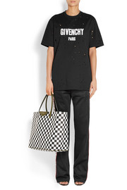 Antigona Shopping large checked textured-leather tote