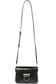 Nobile mini croc-effect glossed-leather shoulder bag