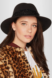 Virginie tinsel-trimmed rabbit-felt hat