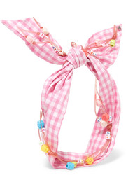 Calie embellished gingham cotton headband