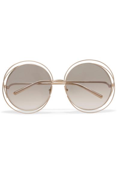 Chloe Carlina round-frame gold-plated sunglasses NET-A ...