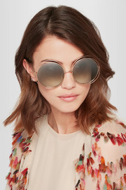 Chloé Carlina round-frame gold-plated sunglasses