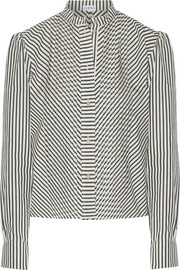 Loewe Pintucked striped cotton-poplin shirt