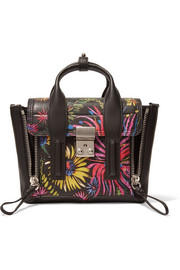 The Pashli mini printed leather trapeze bag