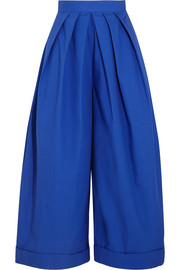 Pleated cotton-poplin wide-leg pants