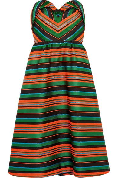 DELPOZO - Strapless Striped Jacquard Dress - Green