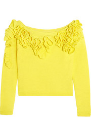 DELPOZO Off-the-shoulder ruffled basketweave cotton top