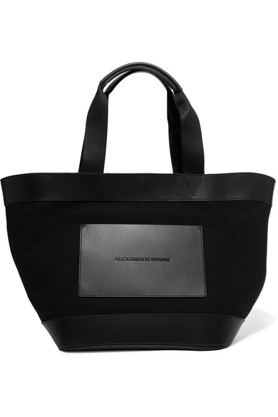 alexander wang female alexander wang leather and canvas tote black